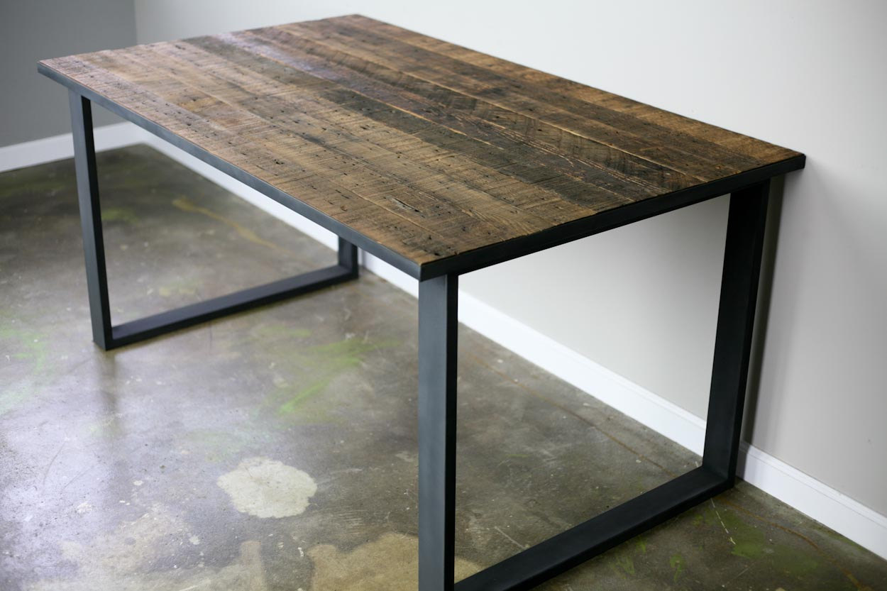 combine 9 industrial furniture dining table desk reclaimed wood steel industrial. Black Bedroom Furniture Sets. Home Design Ideas