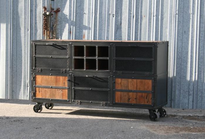 Combine 9 Industrial Furniture Rustic Bar Cart Liquor