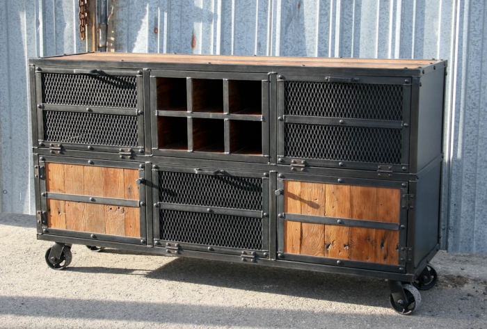 Combine 9 industrial furniture rustic bar cart liquor for Rustic home bar furniture