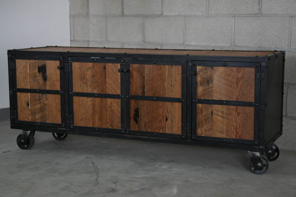 furniture industrial rustic media console reclaimed wood
