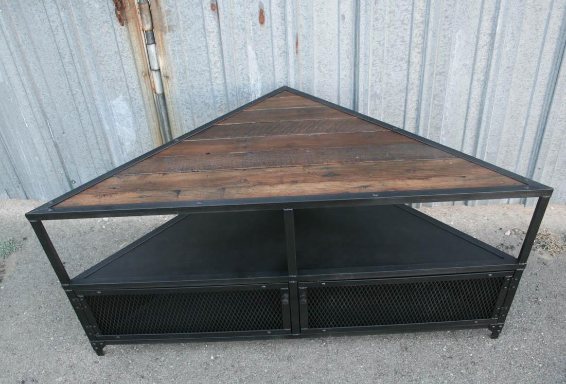 vintage style corner unit tv stand combine 9 vintage industrial furniture. Black Bedroom Furniture Sets. Home Design Ideas