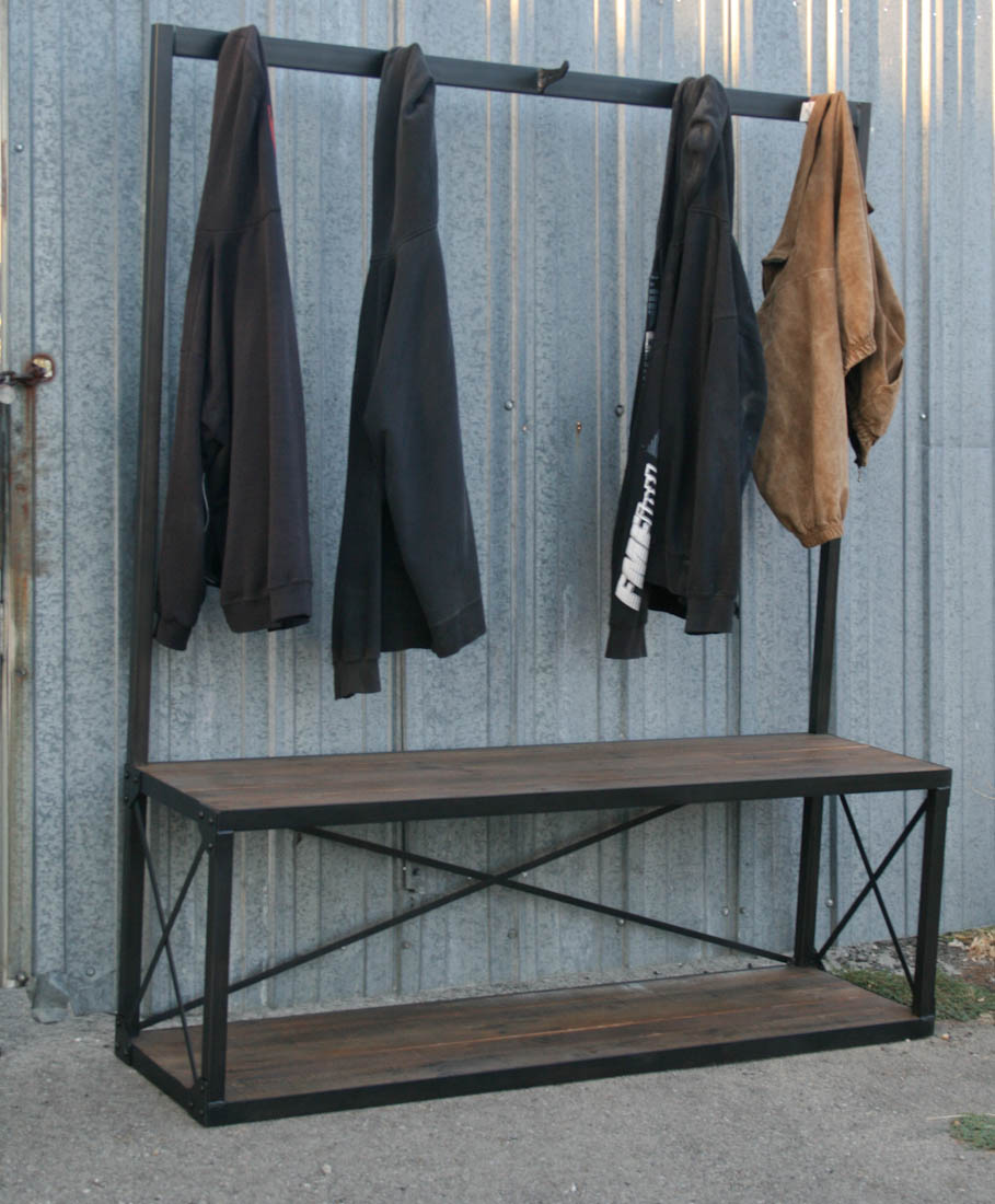 Combine 9 Industrial Furniture Industrial Coat Rack With Bench