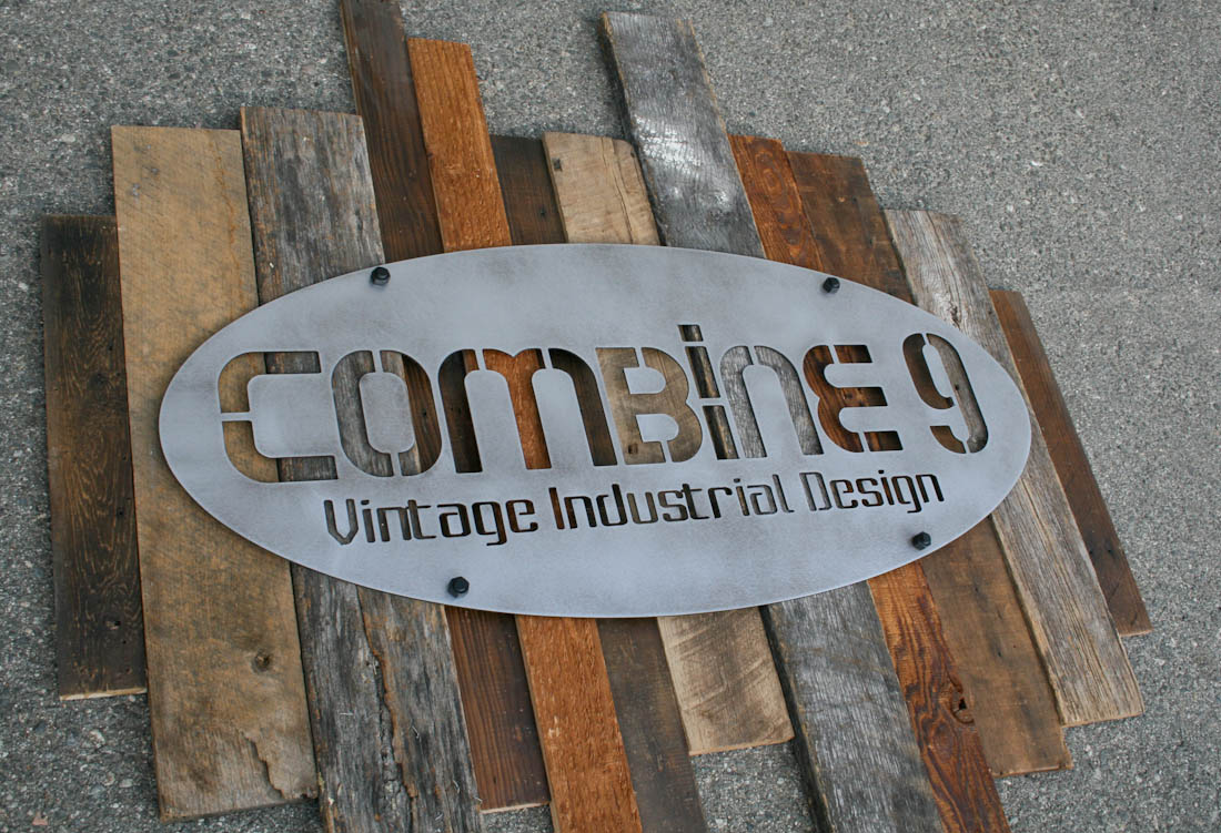 combine 9 industrial furniture reclaimed wood and steel sign. Black Bedroom Furniture Sets. Home Design Ideas