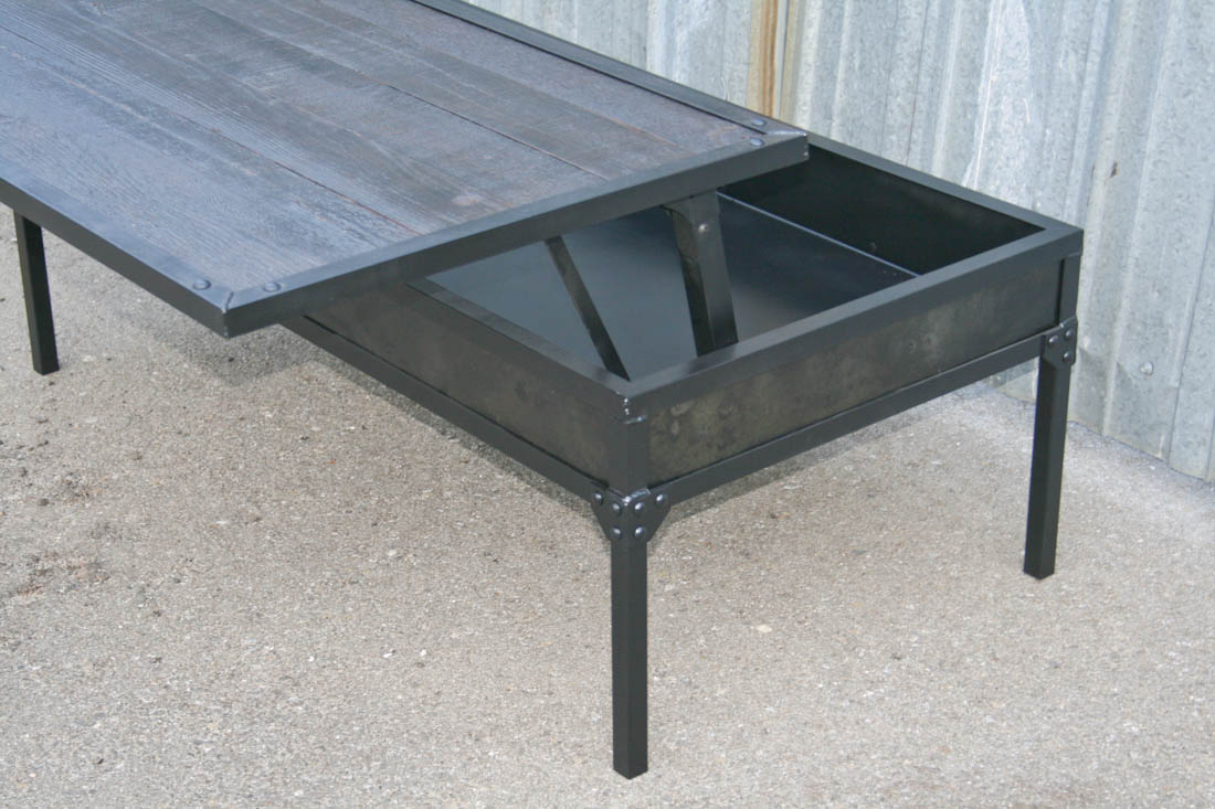 Combine 9 industrial furniture industrial coffee table for Adjustable coffee table