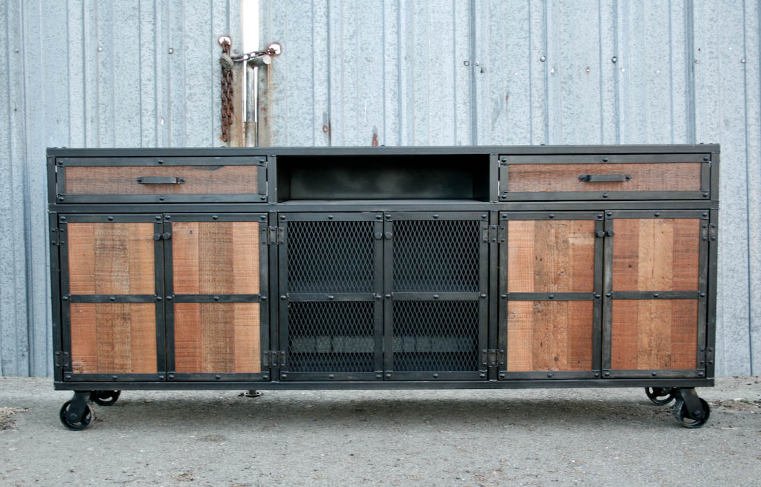 Combine 9 Industrial Furniture – Reclaimed Wood Media Console Credenza - Dining Room Hutch And Buffet