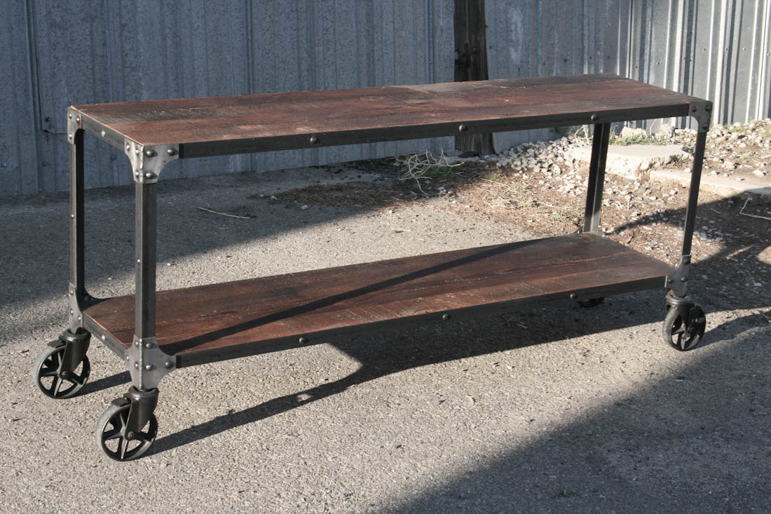 Console Table. Steel & Reclaimed Wood. Hairpin Legs