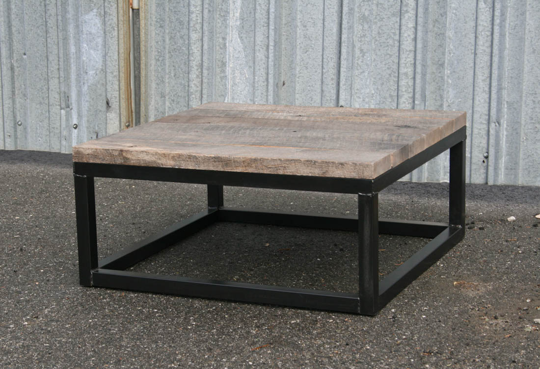 Salvaged Wood Coffee Table ~ Combine industrial furniture reclaimed wood coffee table