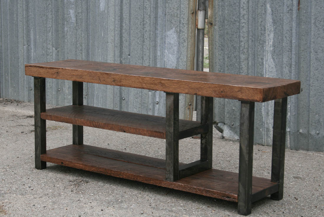 Combine industrial furniture bench with shelf