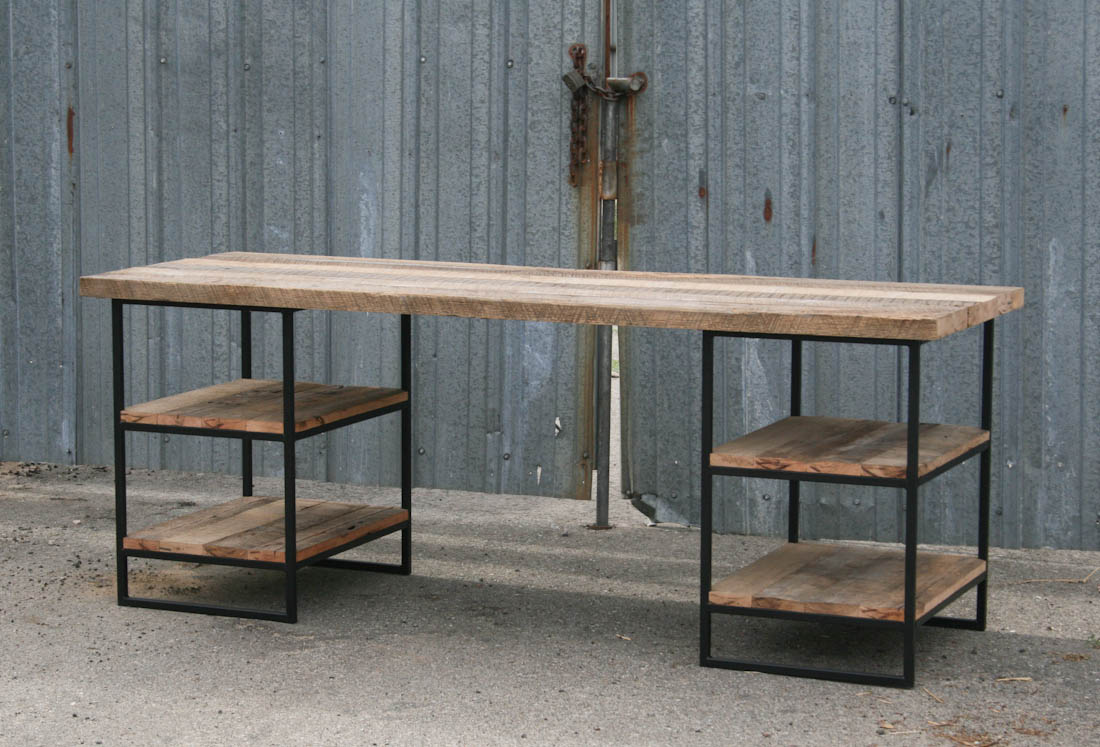 Combine industrial furniture reclaimed wood desk
