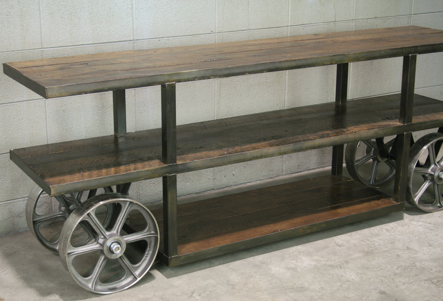 Industrial Trolley Cart Media Console Tv Stand Reclaimed Wood Steel Combine 9 Vintage