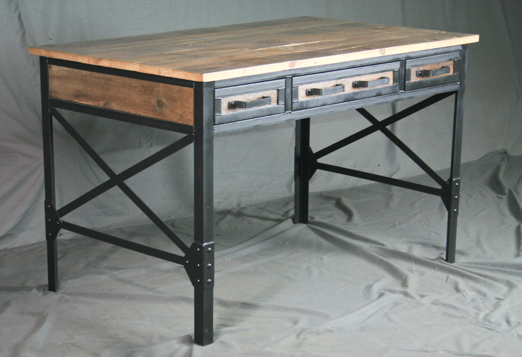 combine 9 industrial furniture vintage style industrial desk with drawers. Black Bedroom Furniture Sets. Home Design Ideas