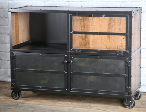 Industrial Bar Cart, Rustic Liquor Cabinet