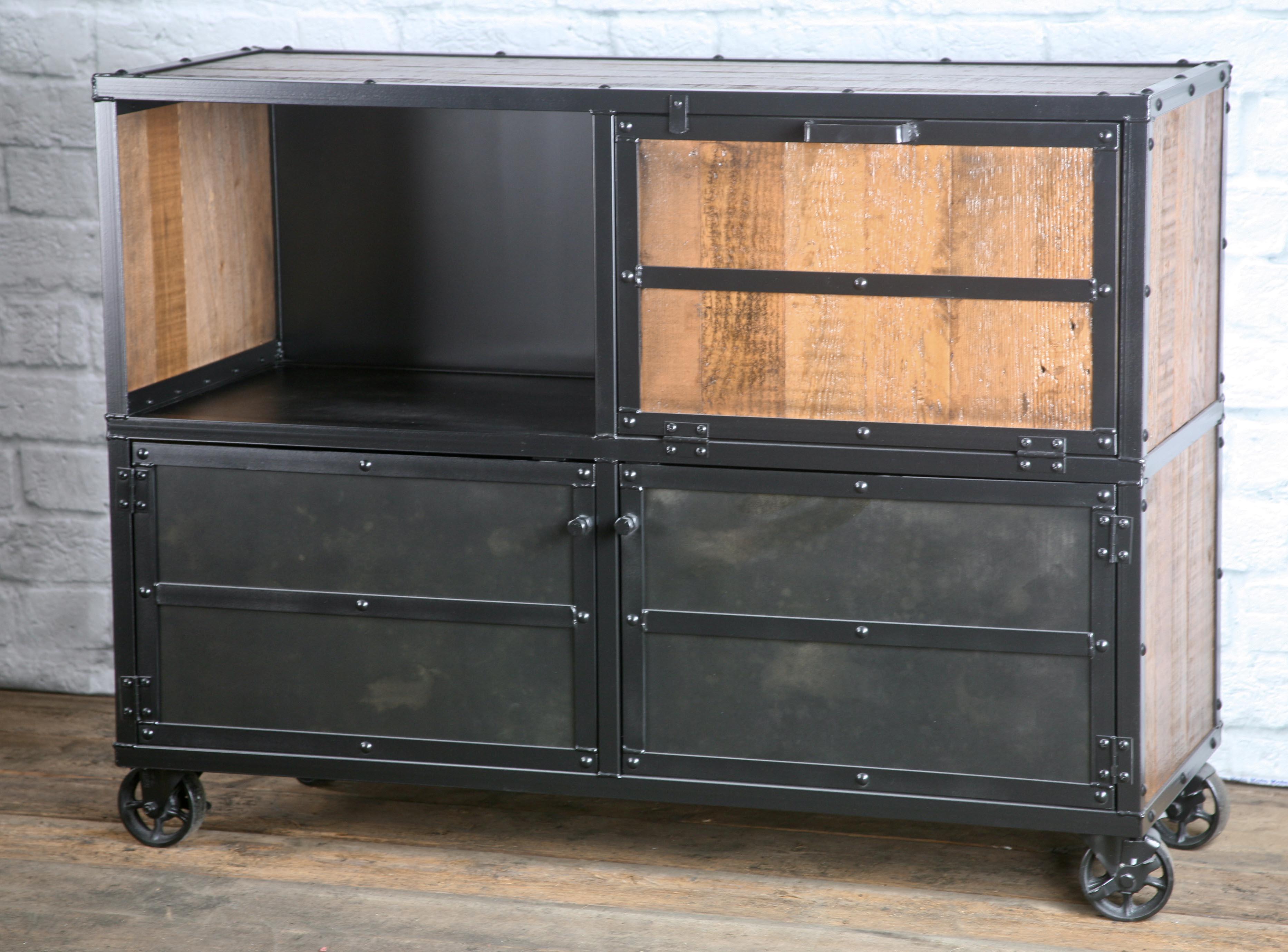 Industrial Bar Cart Rustic Liquor Cabinet Combine 9 Industrial Furniture