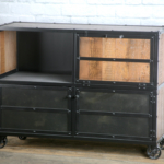 modern industrial bar cart