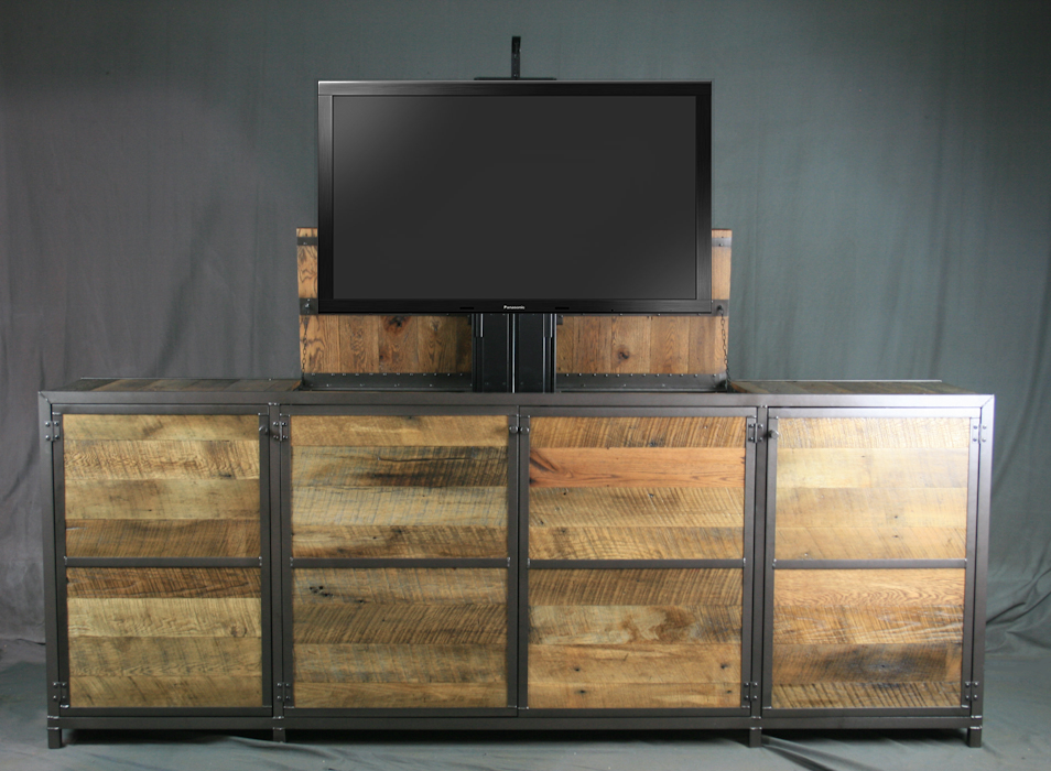 combine 9 industrial furniture media consoles credenzas. Black Bedroom Furniture Sets. Home Design Ideas