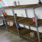 reclaimed wood and steel shelving unit