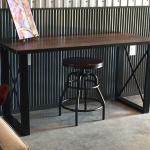 Reclaimed wood and steel minimalist desk