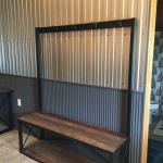 Reclaimed wood and steel bench with garment rack