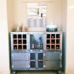 Industrial style steel bar cart and liquor storage