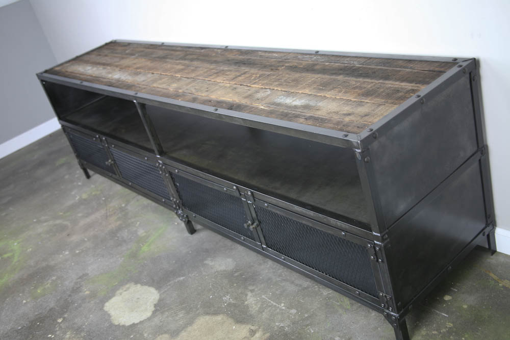 industrial reclaimed wood media console