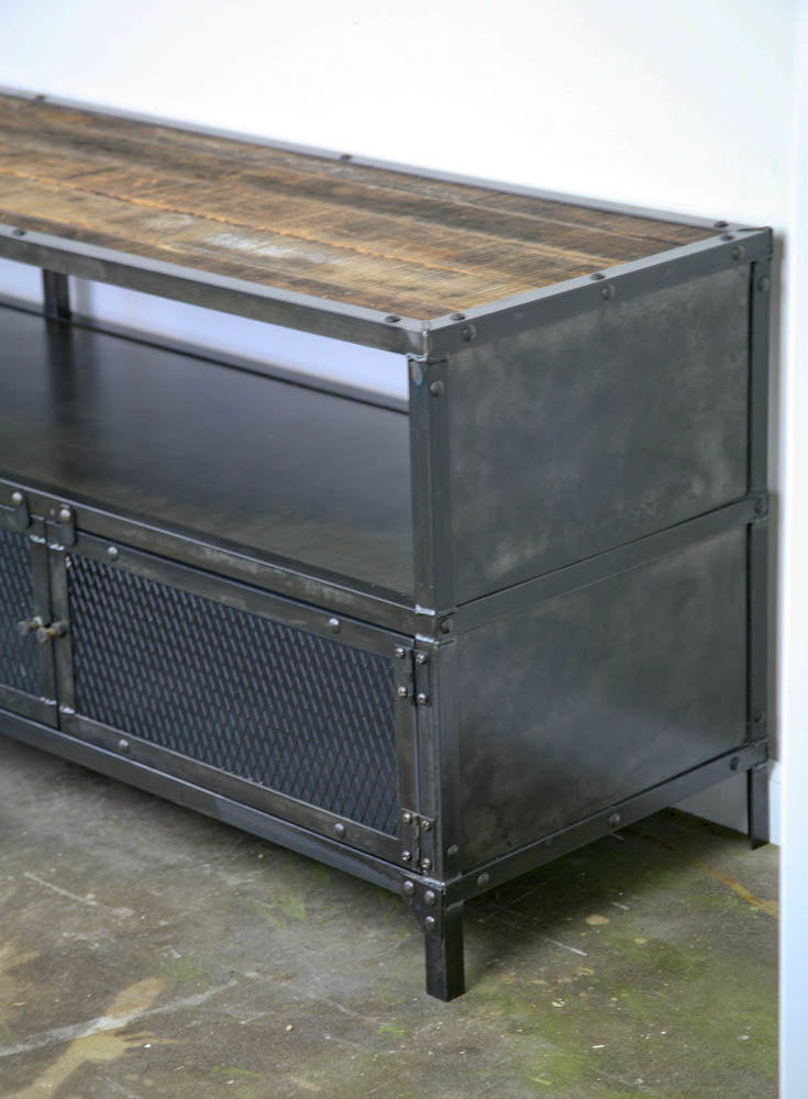 Combine 9 Industrial Furniture Media Console