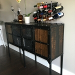 Reclaimed wood and steel credenza