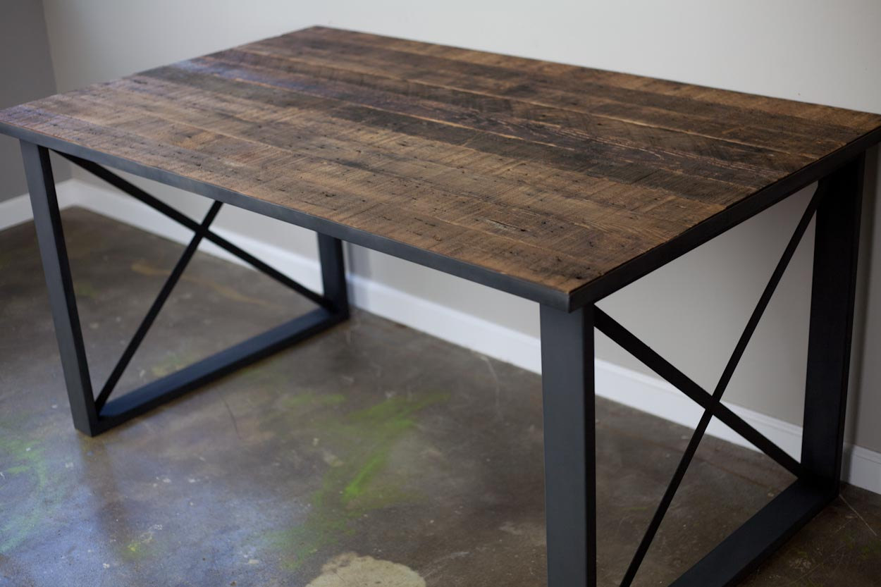 Reclaimed Wood Dining Table · Steel Dining Table