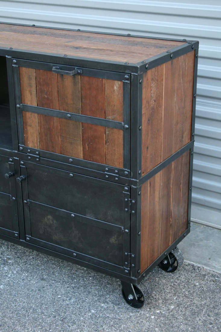 Industrial Bar Cart Rustic Liquor Cabinet Combine 9