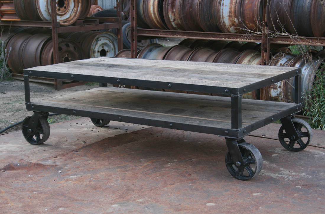 vintage coffee table with casters
