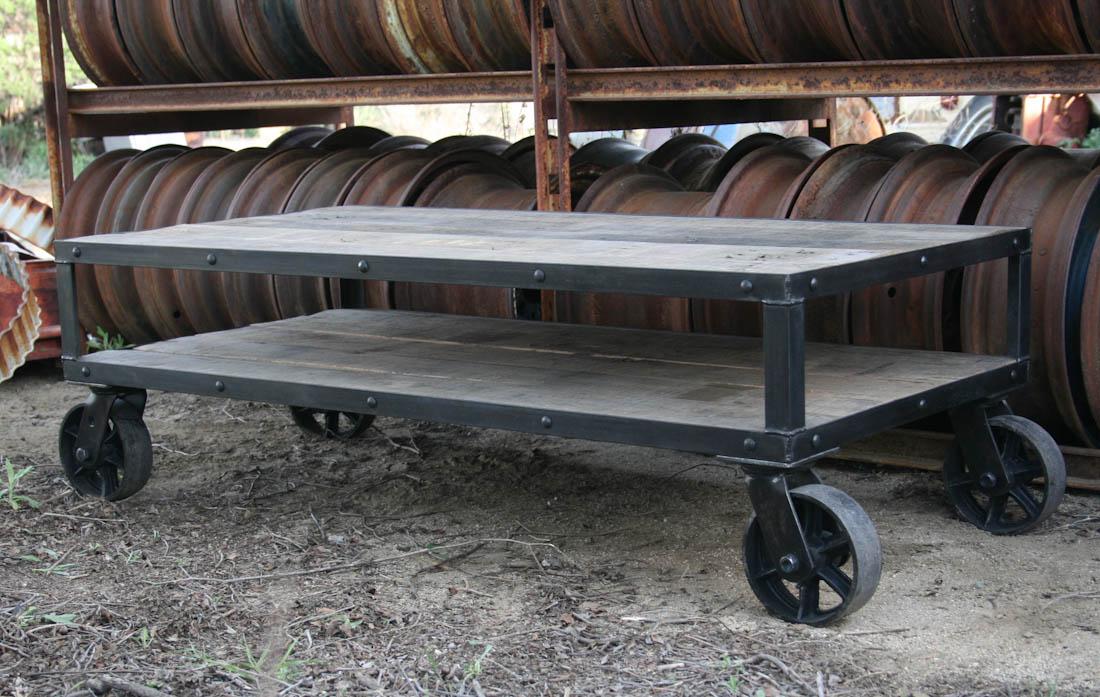 Coffee Table Industrial Rustic Combine 9 Industrial