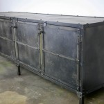 industrial steel media console