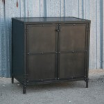 Industrial night stand with metal doors