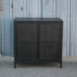industrial end table with solid doors