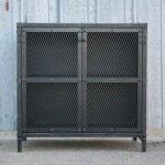 Industrial end table with mesh doors