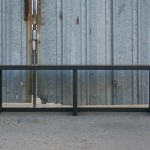 rustic steel bench