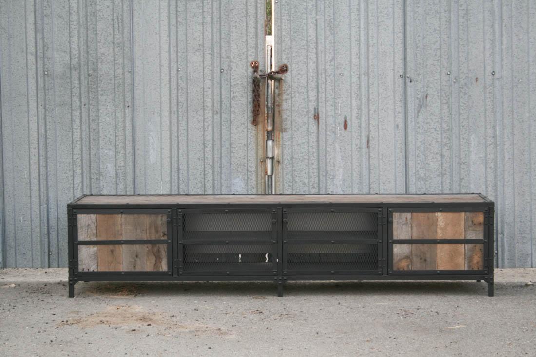 industrial media furniture. rustic credenza u2013 four doors industrial media furniture