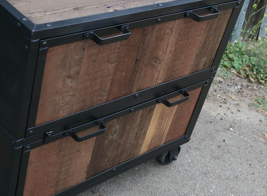 Reclaimed Wood File Cabinet. File Cabinet With Casters