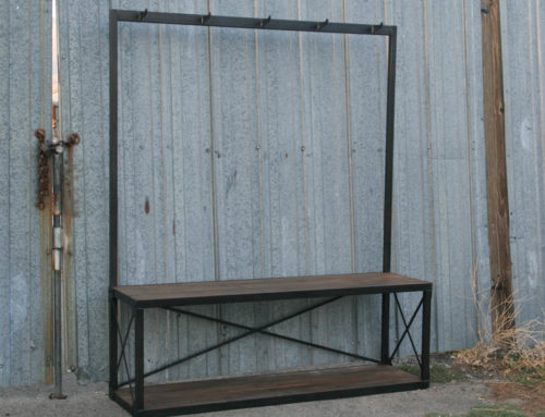 Industrial Coat Rack with Bench