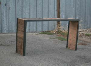 3 sided barnwood console table outside