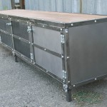 polished steel media console