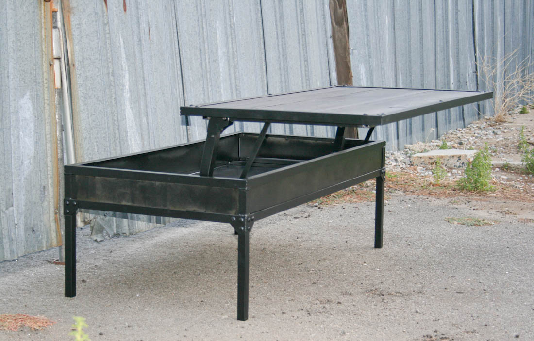 Industrial Coffee Table Adjustable Height Combine 9