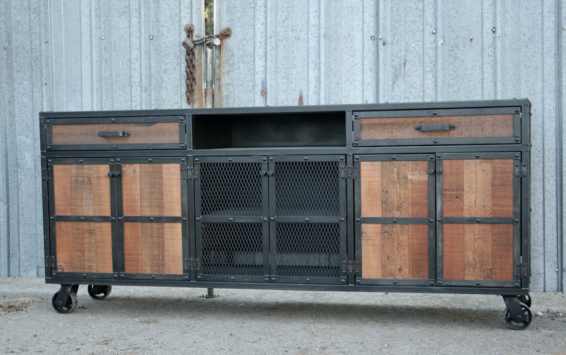 Combine 9 Industrial Furniture Reclaimed Wood Media Console Credenza