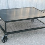 industrial table with mesh wire