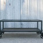 industrial steel coffee table with casters