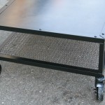industrial steel and mesh coffee table