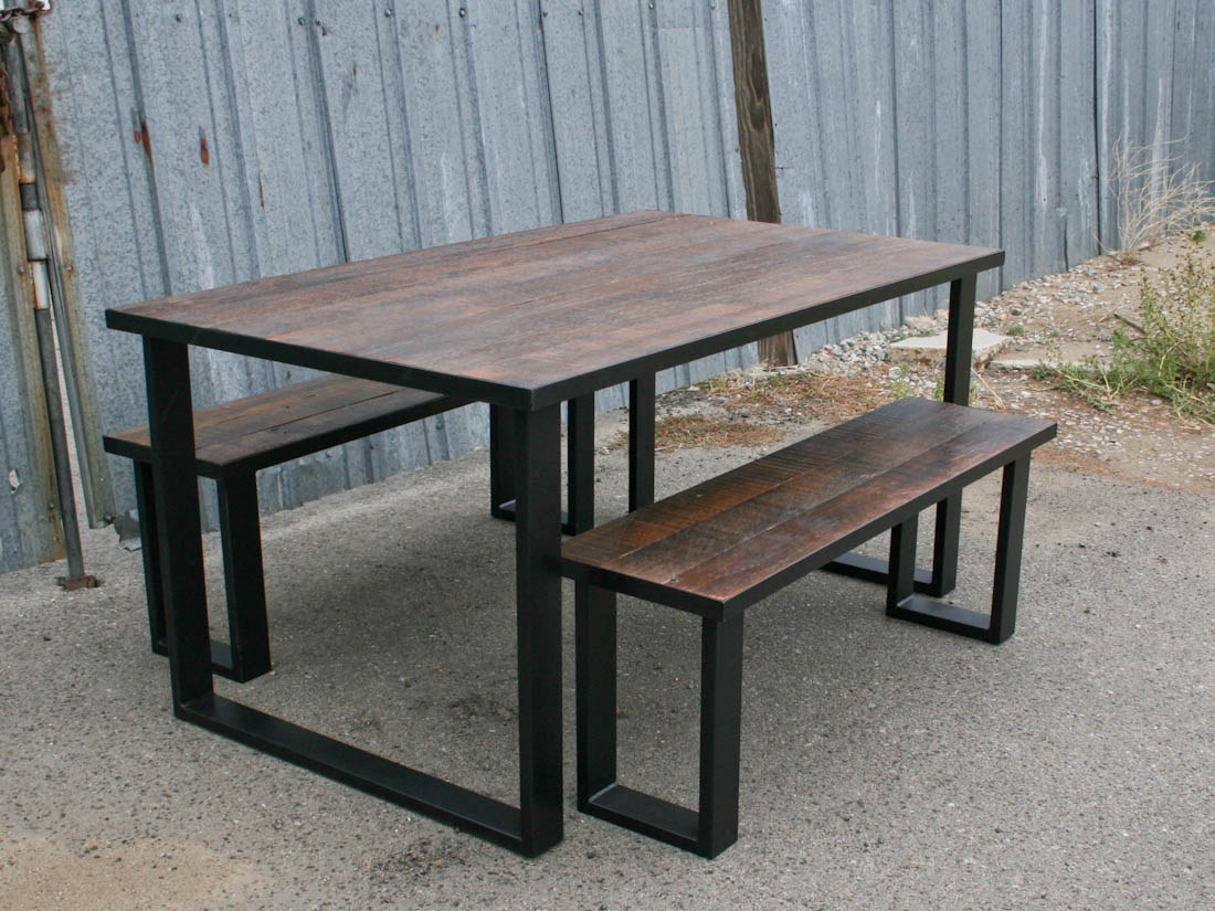 vintage industrial bench & Combine 9 | Industrial Furniture \u2013 Modern Dining Set (Reclaimed Wood)
