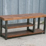 steel and reclaimed wood bench
