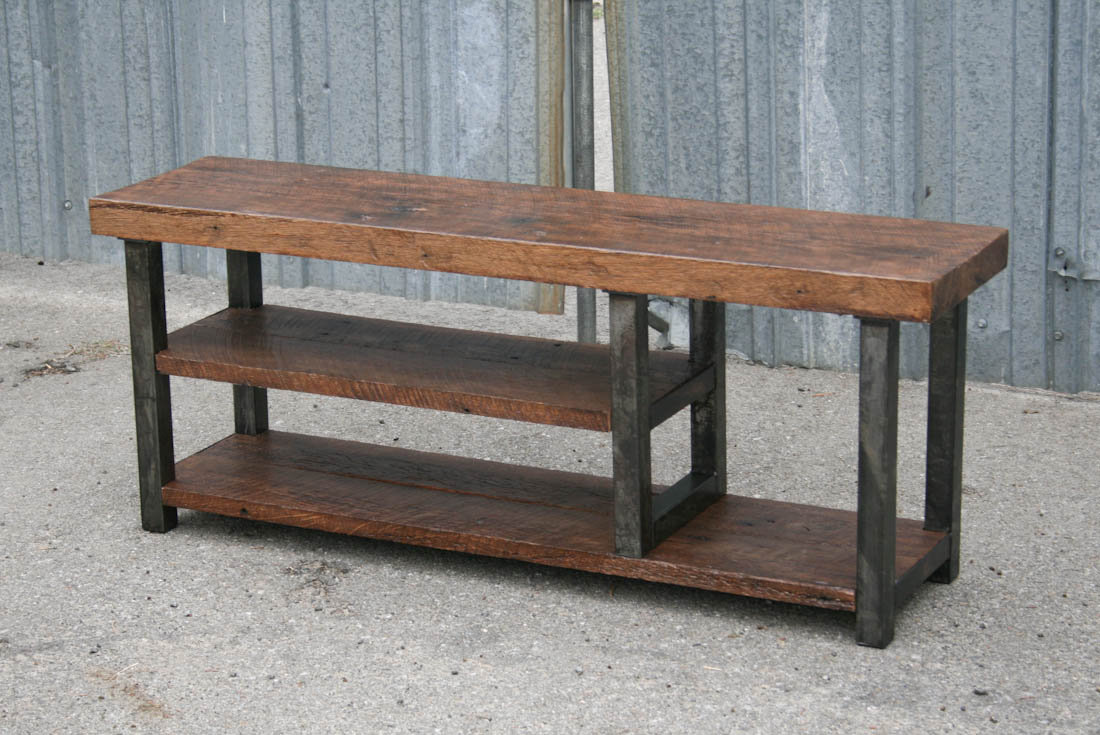 Combine 9 industrial furniture industrial bench with shelf Oak bench