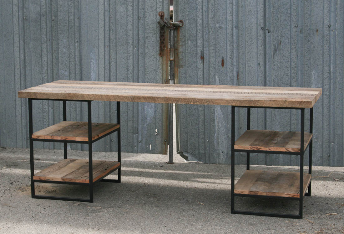 Combine Industrial Furniture Reclaimed Wood Desk With Shelves - Reclaimed wood work table