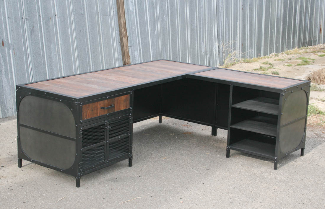 Industrial Desk with decorative panels